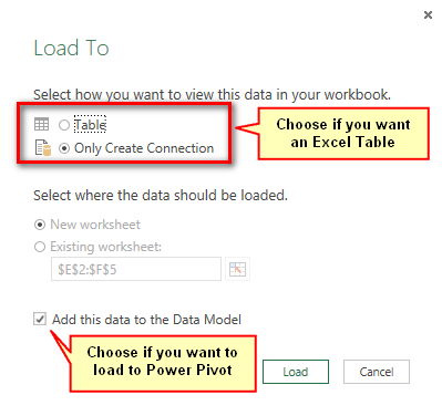 Load Power Query Directly to Power Pivot with Excel 2010