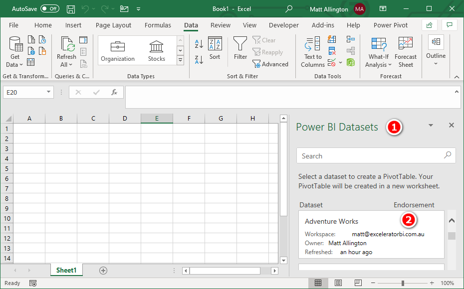 Connect From Excel To Pbi Dataset